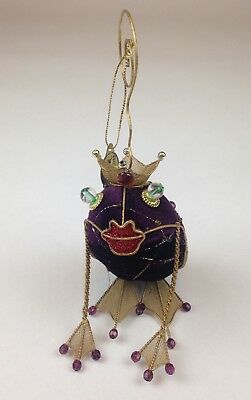 Katherine's Collection Gold Wire Frog Prince Ornament/Picture Clip w/Purple 7""
