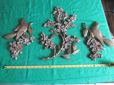 Vintage 1967 Syroco or Burwood Type Wall Hang Birds and Flowers USA  Lot 18-24-3