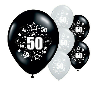 """10 x 50TH BIRTHDAY BLACK AND SILVER 12"""" HELIUM OR AIRFILL BALLOONS (PA)"""