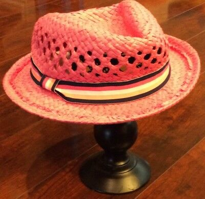 344dc34a Carters Toddler Girls Pink Straw Ribbon Bow Accent Summer Sun Bucket Hat 2-4