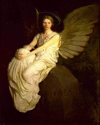 Vintage Oil Painting Print On Canvas Thayer Angel Memorial Ready to Hang