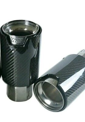 Pair of 70mm/89mm BMW m performance Style Exhaust Tips Carbon Fiber