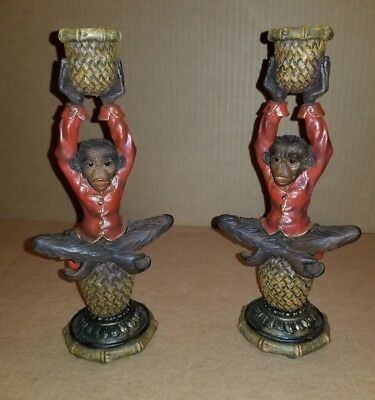 Monkey Candle Holders (2), Seated Monkey Statue Carved Resin  #26