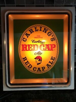 Vintage Illuminated Carling's Red Cap Ale Beer Advertising Sign Light