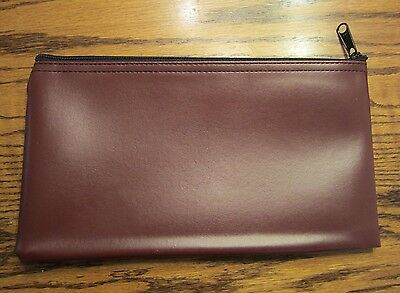 1 New Burgundy Vinyl Zipper Bank Bag Money Jewelry Pouch Coin Currency Wallet
