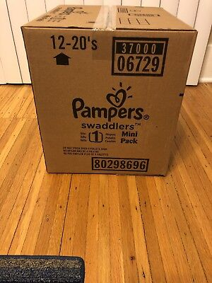 Pampers Swaddlers Size 1 (12 Packs of 20 = 240 count Mini Pack Diapers FULL CASE