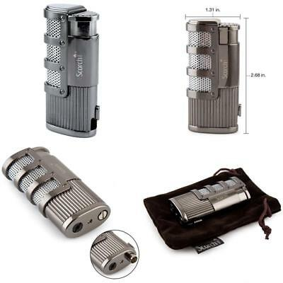 Triple Torch Jet Flame Windproof Refillable Butane Gas Cigar Cigarette Lighter