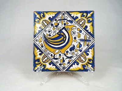 Lovely Vintage Conimbriga Portugal Tile of Bird Blue and Yellow