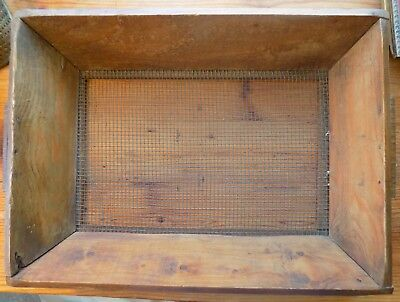 ANTIQUE Country PRIMITIVE Oblong SIFTER Metal Screen Hand Cut Wood Old Nails