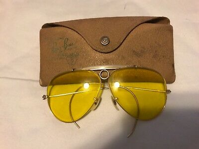 10e2662971381 Ray - Ban Vintage B L Aviator Yellow Lens Shooter Shooting Sunglasses W   Case