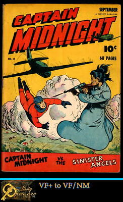 CAPTAIN MIDNIGHT #12 VF+ to VF/NM (8.5-9.0) FAWCETT Sept.1943 GOLDEN AGE COMIC!