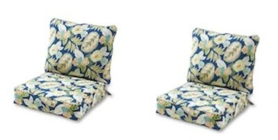 Modern Blue Floral Outdoor Deep Seat Cushion Set Of 2 Thick Patio