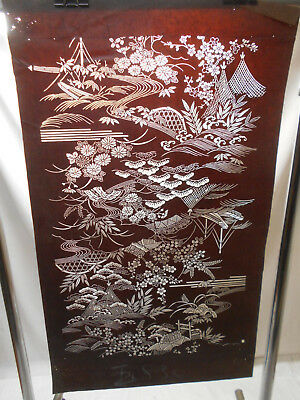 "Vintage Kimono Ise Katagami Hand Cut Stencil ""BOATS ON RIVER "" Japanese Art #77"