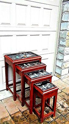 Set Of 4 Antique Chinese Painting & Stone,jade Imlayed Nesting Tables,glass Top