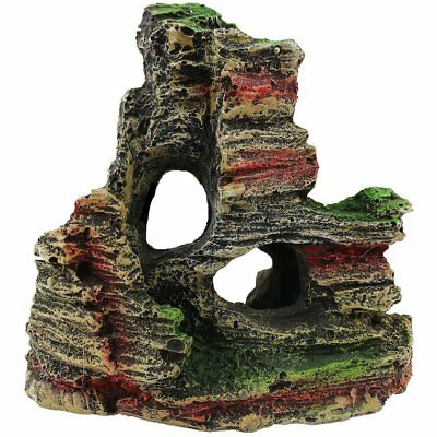 Aquarium Mountain View Reef Rock Cave Stone Moss Fish Tank Ornament Decor HU