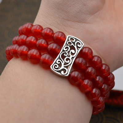 HOT 3 Row Women's Natural 8mm red ruby Beads Stretch Tibetan silver Bracelet