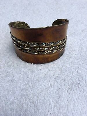 Vintage Hand Made Copper Bangle Bracelet W/ Rope Pattern Unique Costume Jewelry