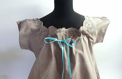 French Vintage Cotton Nightgown / Day Dress Dyed 'Cafe au Lait'