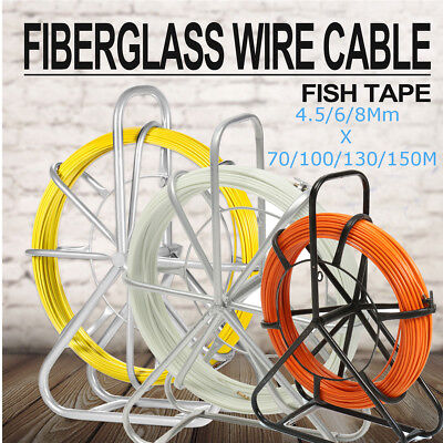 🇬🇧 150m*8mm Fiberglass Wire Cable Rod Duct Electrical Tape Running Puller UK