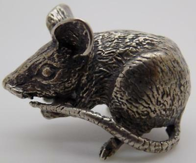 Vintage Solid Silver Italian Made Mouse Figurine, Miniature, Stamped