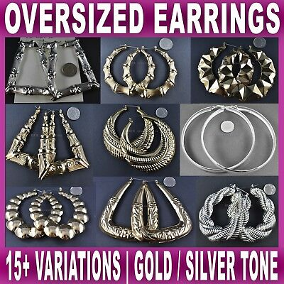 LARGE EARRINGS oversized chunky heart hoop fashion bamboo gold silver NEW