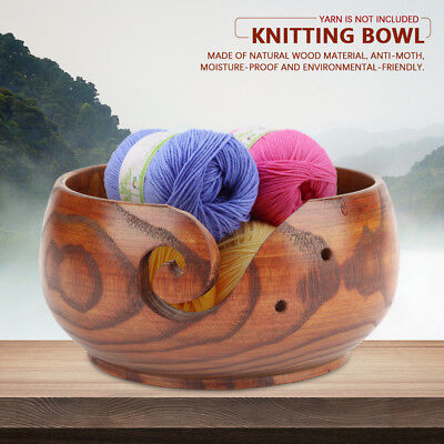 Multi-functional Handmade Crafted Wooden Knitting Yarn Bowl Retro Home Decor