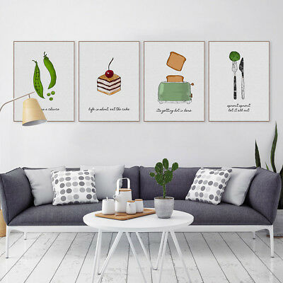 Nordic Food Vintage Kitchen A4 Poster Prints Home Decor Wall Art Canvas Painting