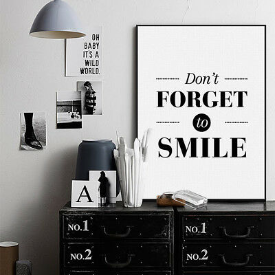 Nordic Black White Motivational Quotes A4 Poster Home Decor Art Canvas Paintings