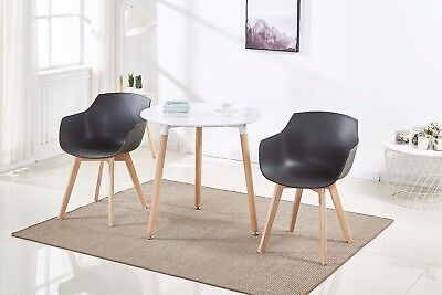 2 Pcs Black Dining Chair Modern Style Lounge Chairs Plastic With Wooden Leg