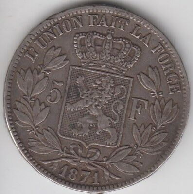 Coin 1871 Belgium silver 5 franc in good very fine condition