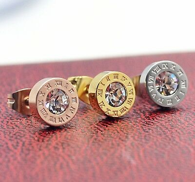 1Pair Titanium Stainless Steel18K Gold Plated Roman Numeral Stud Earrings Zircon