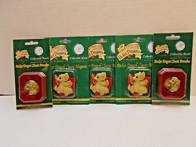 POCKET DRAGONS 3 CLASSIC MAGNETS & 2 CLASSIC BROOCHES ALL NEW c