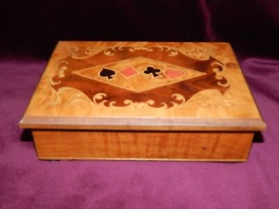 Vintage Sorrento Ware Inlaid Playing Card Wooden Box / Italian