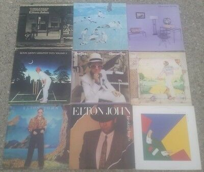 ELTON JOHN COLLECTION Lot of 9 Album Vinyl Records CLASSIC ROCK GREATEST HITS!