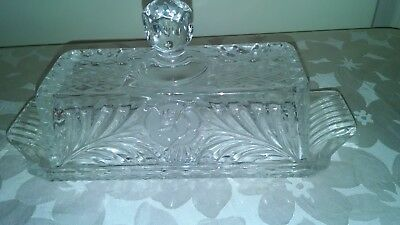 Vintage or Antique Cut Glass Crystal Covered butter dish w/ Handle Etched Roses