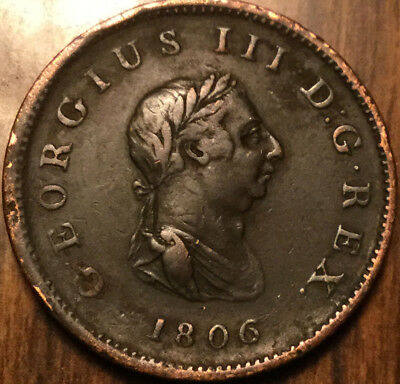 1806 Uk Gb Great Britain Geo Iii Halfpenny