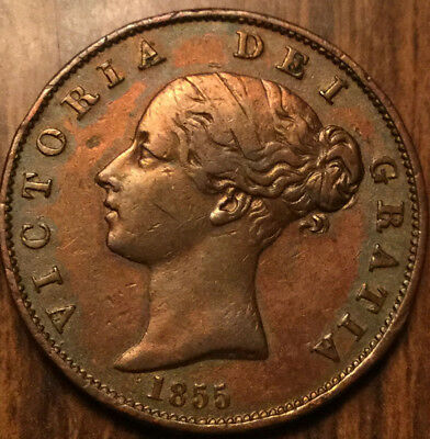 1855 Uk Gb Great Britain Victoria Halfpenny