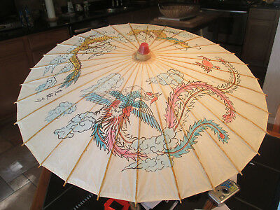 Antique Hand Painted Wood & Rice Paper Umbrella with Bamboo Handle Japan