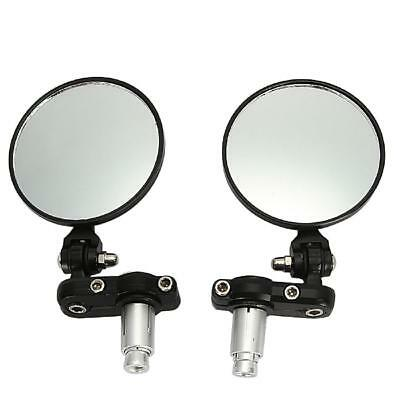 "Motorcycle 3"" Round 7/8"" Handle Bar End Rearview Side Mirrors Universal Foldable"