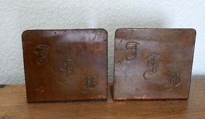 Vintage Heavy Copper Bookends Arts & Crafts Mission Style