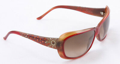 4b706fbaf65d JUDITH LEIBER RED oval frame sunglasses with mossaic accents ...