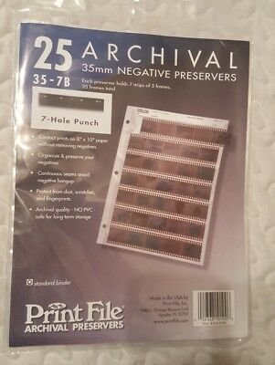 PrintFile 35mm Negative Preservers 35-7B x 25 New in Sealed Pack