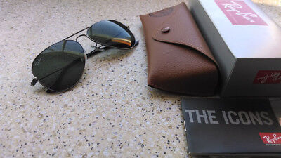 3858f6034b Authentic Ray-Ban Aviator RB3025 W0879 58mm Sunglasses Gunmetal Frame Green  G-15