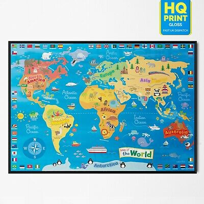 Kids Animal Map Of The World Children's Educational School Art Poster  A5 A4 A3