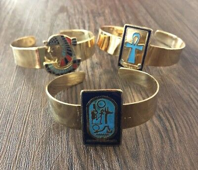 Lot Of 3 Ancient Egyptian Cuff Bracelet Ankh Cleopatra Cartouche Brass Hand made