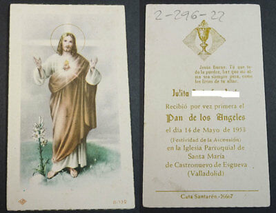 Old Blessed Sacred Heart Of Jesus Holy Card  1953  Andachtsbild Santini   Cc2073