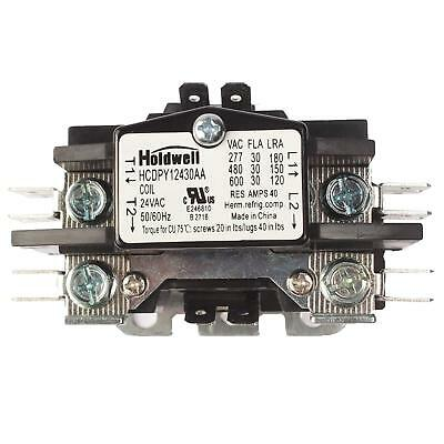 Holdwell HCDPY12430A 1Pole Normally Open Dbl w/ shunt Definite Purpose Contactor