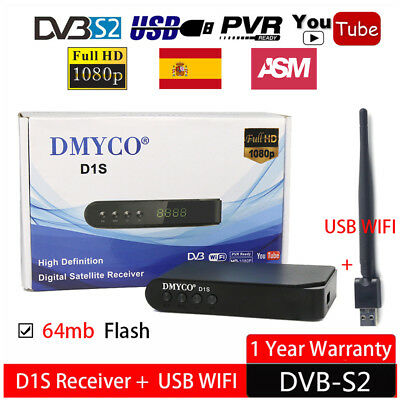 FTA D1S HD 1080P DVB-S2 PVR Digital Satellite Receiver TV Box USB Wifi Biss Key