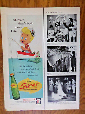 1959 Squirt Soda Bottle Pop Ad Little Boy in Fishing Boat