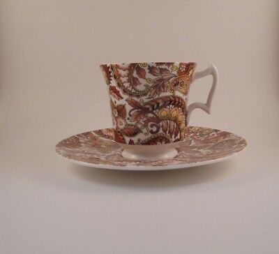 Royal Chelsea Cup & Saucer Set Brown Paisley 5054A Bone China